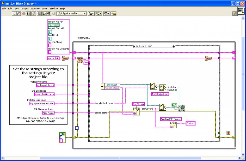 Example One-Click Build VI (Block Diagram)