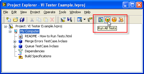 VI Tester's Project Toolbar