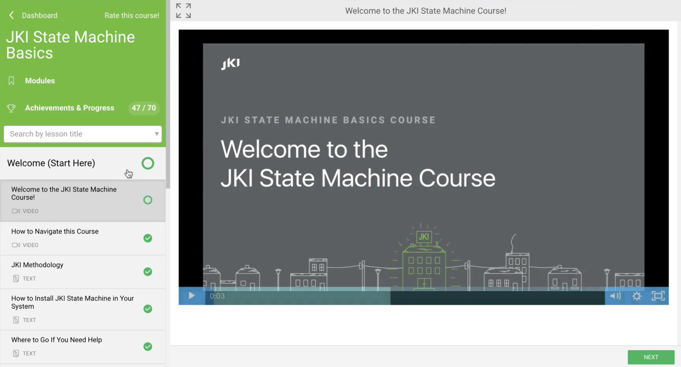 JKI SM Course Screen